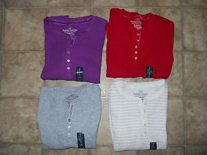 Girls Thermal Shirts Henley Top Size XS S M L XL