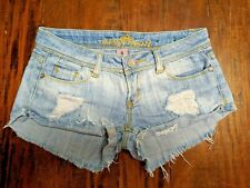 Almost Famous Sz 0 Light Jean Longer Booty Shorts Women's Juniors Hi-Low