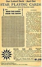 1929 small Print Ad of Star Playing Cards Cheat Trick Deck