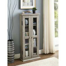 Rustic Wooden Media Cabinet Cd-Dvd Storage Shelf Tower Glass Door Stand Display
