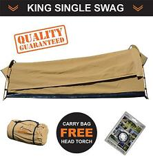 New Oz Wild Rivers King Single Swag Camping Swags Canvas Tent + Bag + Head Torch