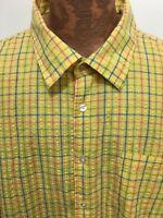Kani Gold Mens 4XL Yellow Plaid Short-Sleeve Cotton Blend Shirt