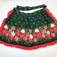 Vtg Christmas Floral Half Apron Hostess Ruffles Red Green Holly Berries Tie Back