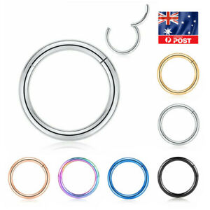 Stainless Steel Hinged Septum Clicker Nose Lip Ear Body Ring Hoop Piercing 1PC