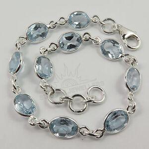 Oval stones bracelet 20 cm Blue topaz 8x6 mm Solid 925 Sterling Silver Jewelry