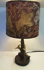 Hand-painted Decor Dark Woodbine Mossy Oak Deer Antler Lamp Hunting Cabins