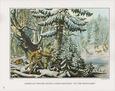 "1972 Vintage Currier & Ives ""HUNTING DEER o/t SHATTAGEE"" COLOR Print Lithograph"