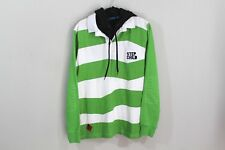 STEP CHILD Snowboards Mens Medium Striped Spell Out Hooded Pullover Sweater