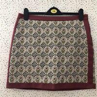 H&M Floral Raspberry Tapestry Brocade Boho Short Skirt Size UK 16