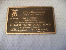 BJ- 1947 FRED L PETERSON LIFE MEMBERSHIP AL KADAR TEMPLE AAONMS OF PORTLAND OR