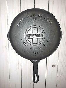 Vintage Griswold No. 7, Large Logo Cast Iron Skillet 701J