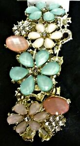 NWT Decree Floral Bracelet - Aqua, Clear & Multi-Pink Faux Jewels on Gold Tone