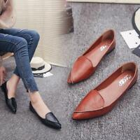 Women's Summer Casual Flat Slip-on Shoes PU Leather Pointed Toe Loafer Shoes