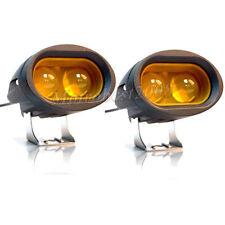 2x 20W 4D CREE LED Spot Light Motorcycle ATV Boat Off Road Headlight Bike Amber