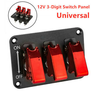 3 Toggle Switch Panel 12V Red LED Lights Racing Car Ignition Kit DIY NEW
