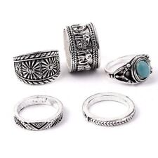set rings 5 pieces Silver Plated Carved Knuckle Turquoise Elephant Midi Ring