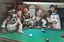 "DOG POSTER 20"" X 30"" ANIMAL PARTY FUN PLAYING CARDS SNOOKER FIVE FREE SHIPPING"