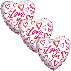 3 pc Water Colors I Love You Heart Happy Valentines Day Balloon Bouquet Kiss