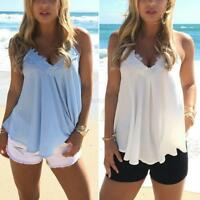 Fashion  Women Lace Vest Top Sleeveless Casual Tank Blouse Summer Tops T-Shirt