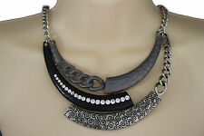 Women Silver Necklace Black Metal Plate Chains Half Moon Fashion Jewelry Earring