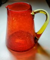 "Pre-loved Vintage 5"" Red Crackle Glass Pitcher With Amber Handle"