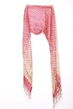 Vintage inspired brown polka dots & red dual tassel ends  neck scarf (S-25)