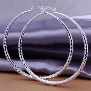 Fashion 925 Sterling Silver Ear Stud Big Hoop Earrings Wedding Jewelry UK
