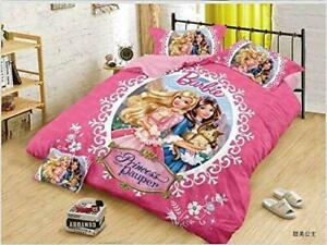 Queen Size Bedsheet 2 Pillow Covers Disney Kids Cartoon Barbie Print Bedding Set