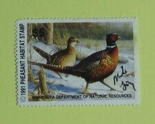 1991 Minnesota DNR Pheasant Hunting Stamp License Tag...Free Shipping!