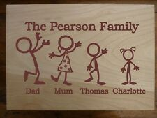 Personalised Wooden Box: Stickman Family Gift - Large Storage Box Keepsake
