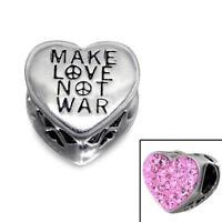 925 Sterling Silver Pink Make Love Not War Heart Peace Bracelet Charm Bead B342