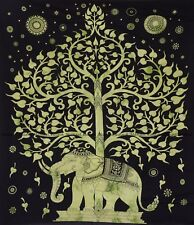 Green tree and elephant mandala tapestry indian wall hanging bohemian bedspread