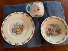 3 Pc Royal Doulton BUNNYKINS Plate, Bowl & Mug Childrens Set in Mint condition