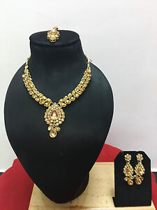 Ethnic Indian Bollywood Style Gold Plated Designer Fashion Jewelry Necklace Set