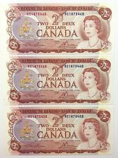 Lot of 3 1974 Canada 2 Dollar Uncirculated RC Lawson Bouey Banknotes Two R307