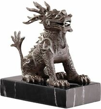 Chinese Foo Dog Cast Iron Sculpture on solid marble base Replica Reproduction