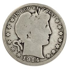 1914 Silver Barber Half Dollar 50C (Good, G Condition) Natural Color