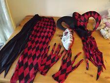 HALLOWEEN JESTER COSTUME childs large BLK RED HARLEQUINS clown JOKER 4 PC KRAZED