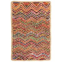 ⭐ Waves Zig Zag Jute Cotton Multicoloured Chindi Rag Rug Braided Recycled Shabby
