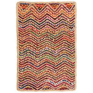 ⭐ Waves Zig Zag Jute Cotton Multicoloured Chindi Rag Rug Braided Recycled Shabby