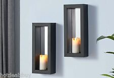 2 Mirror Candle Wall Sconce Holder Set Metal Pair Decor Vintage Contemporary Art