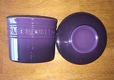 *~*LE CREUSET*~* Stoneware Butter Crock, 6 oz, HTF Cassis (Purple), EUC