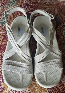 Skechers Pale Grey Elasticated Reggae Cup Oh Snap Sandals 6 *Arch Comfort*