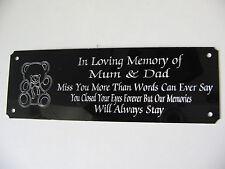 Personnalisé Teddy Bear Bench plaque commémorative, plaque gravé signe 160x55mm