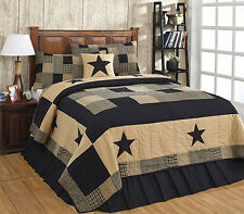 Jamestown Black & Tan 3pc King Quilt Set Primitive Farmhouse Patchwork Star