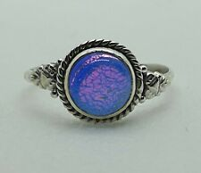 Brand New Sterling Silver 925 Dicho Glass Ring Size R 1/2