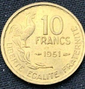 1951 France    10 Francs UNC Coin    Aluminum Bronze     #K544