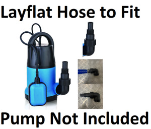 Layflat Hose To Fit Submersible Water Pumps Outlets Reducers Select Length