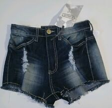 almost famous women blue jeans shorts distressed high rise sz 0