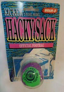 Vintage WHAM O HACKY SACK NEW open CARD Neon Green 2 panel KICKER
